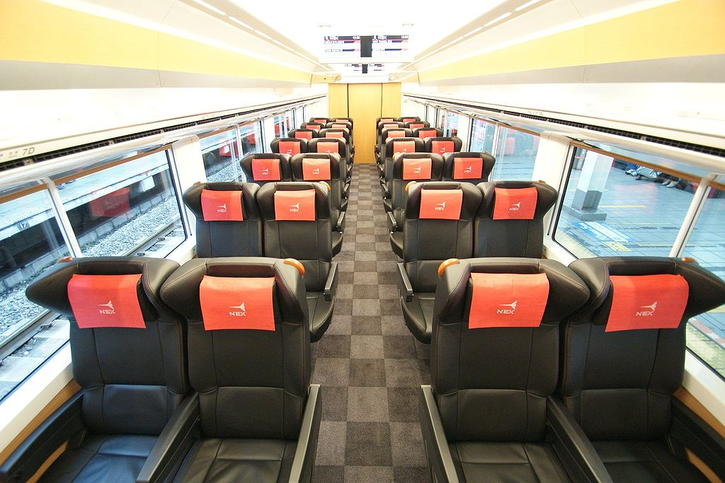 Green class interior of Narita Express