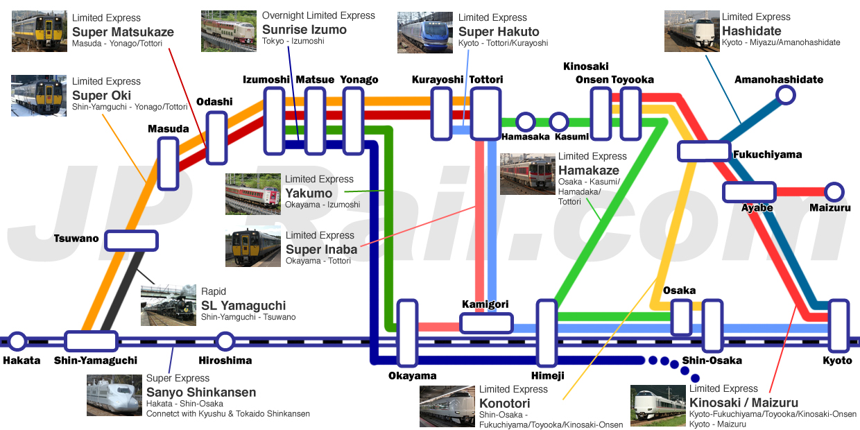 Sanin area train access guide. How to access to Kinosaki, Izumo, Matsue, Tottori and other major cities in Sanin area.