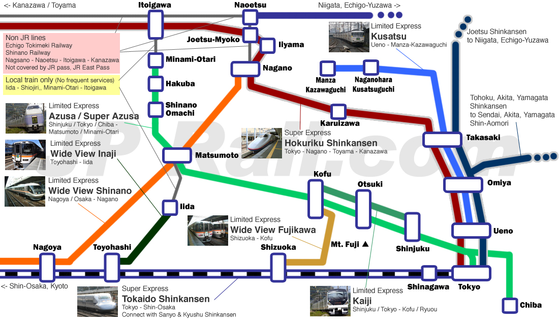Guide for train access to Nagano, Matsumoto and other places in Shinshu and surrounding area.