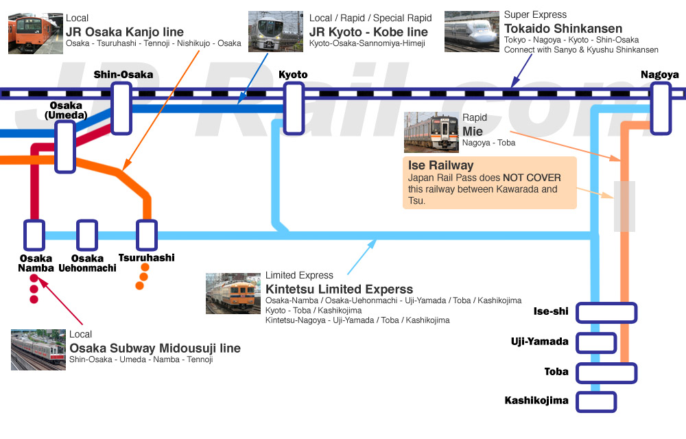 Ise access guide. Kintetsu is the best way but we can use JR Pass too.