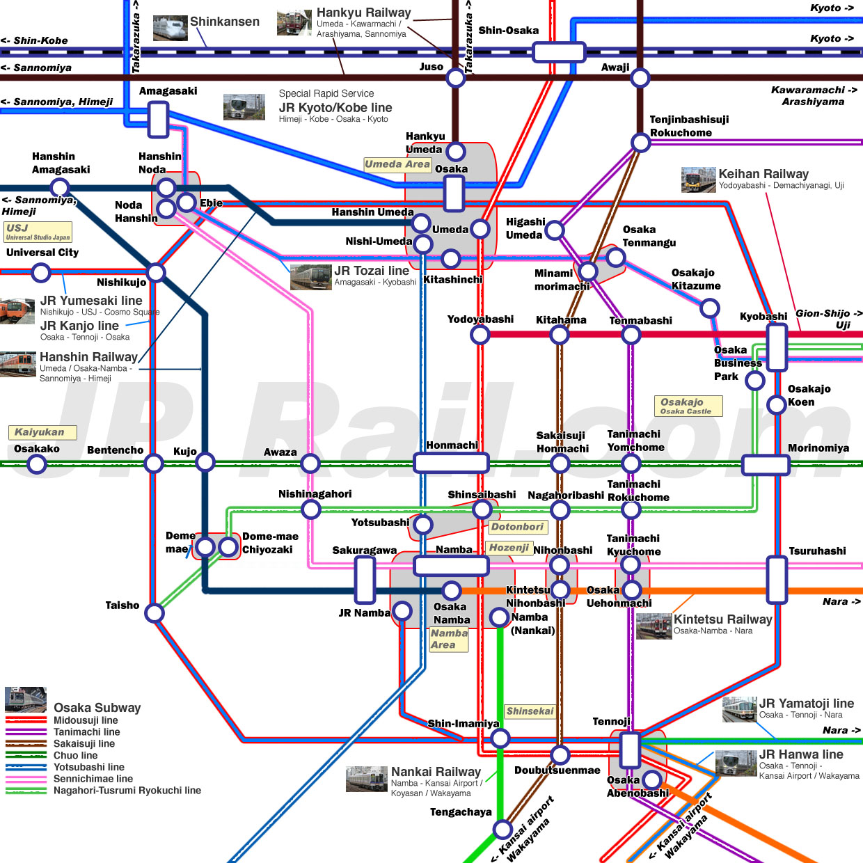 Guide to take trains in Osaka. How to choose the best route by train ...